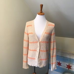 LOFT Striped Cardigan Sweater M